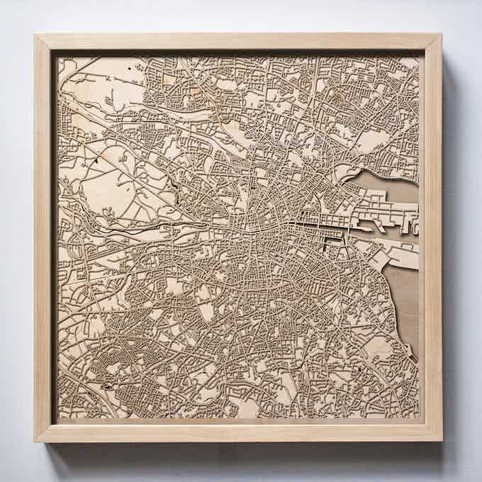 Dublin CityWood Laser Cut Wooden Map