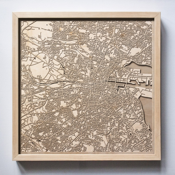 Dublin CityWood Laser Cut Wooden Map