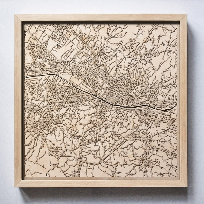 Florence CityWood Laser Cut Wooden Map