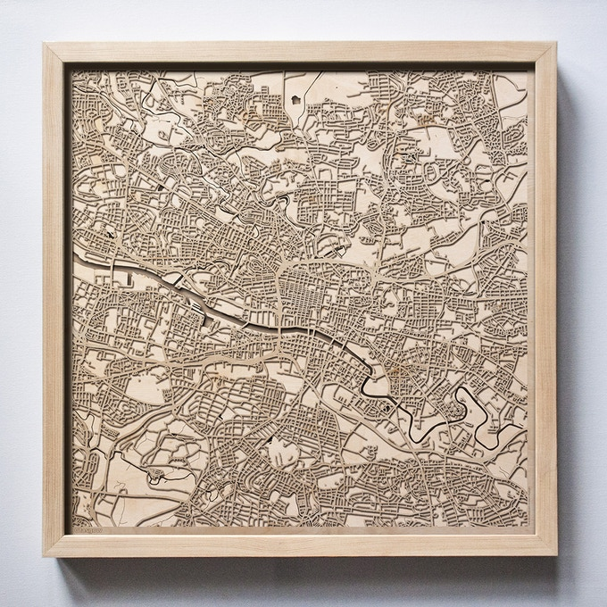 Glasgow CityWood Laser Cut Wooden Map