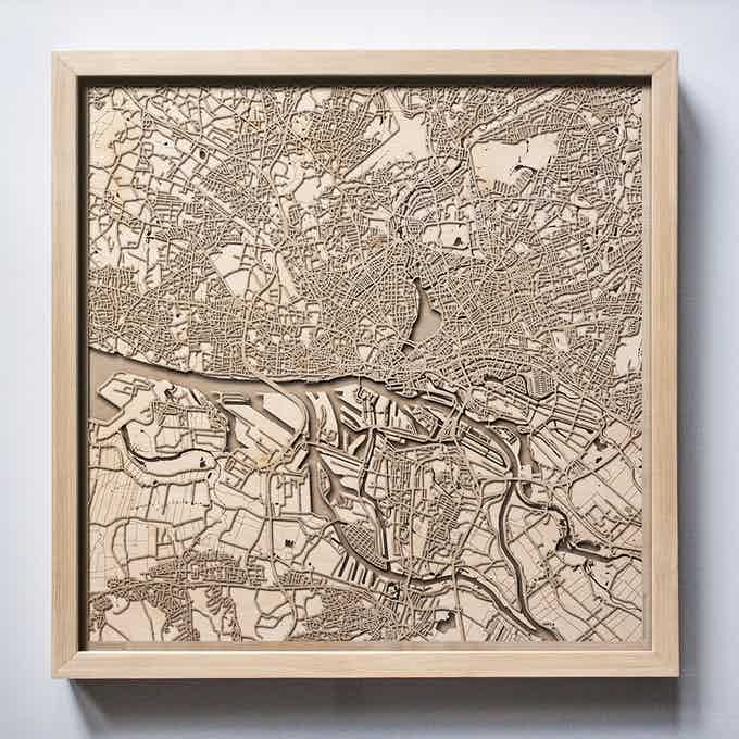 Hamburg CityWood Laser Cut Wooden Map