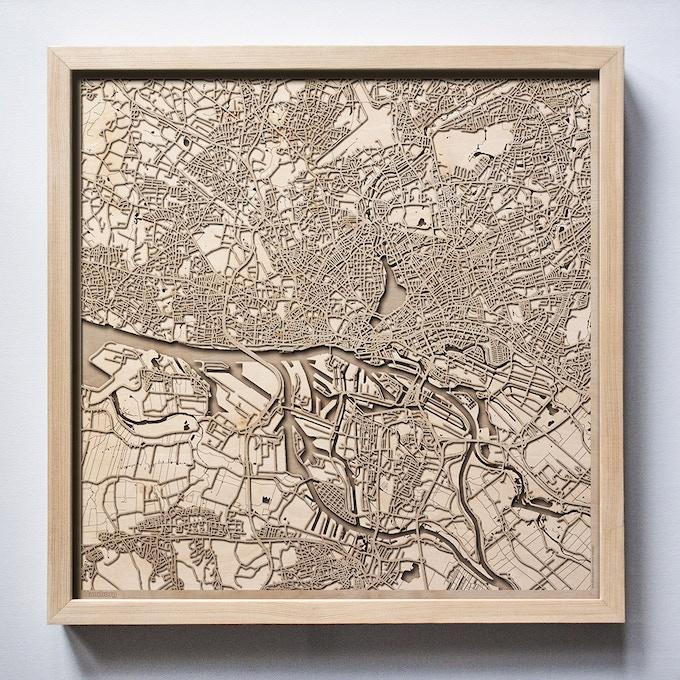 Hamburg CityWood Laser Cut Wooden Map