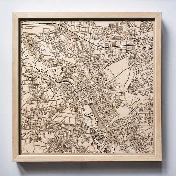 Hanover CityWood Laser Cut Wooden Map