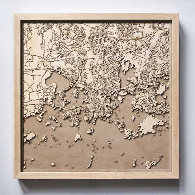 Helsinki CityWood Laser Cut Wooden Map