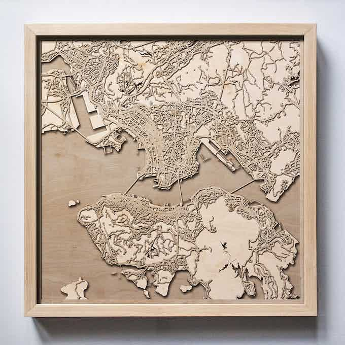 Hong Kong CityWood Laser Cut Wooden Map
