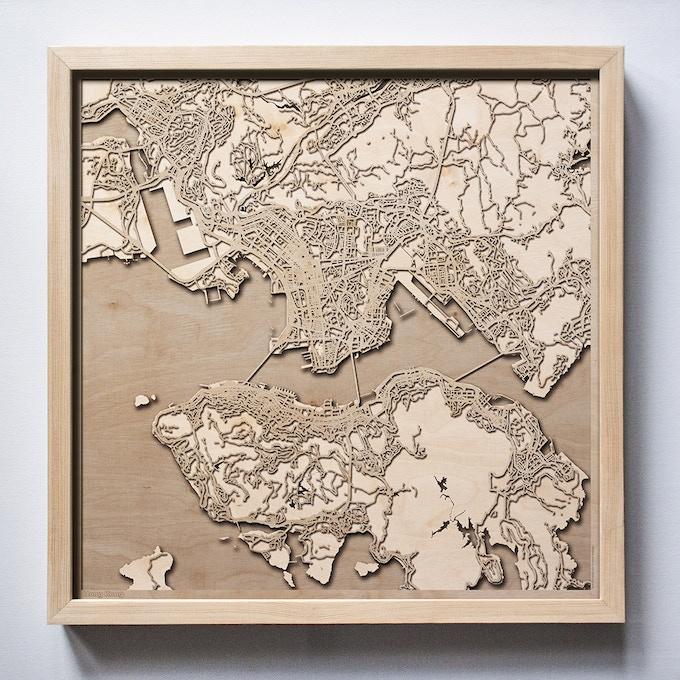 Hong Kong CityWood Laser Cut Wooden Map
