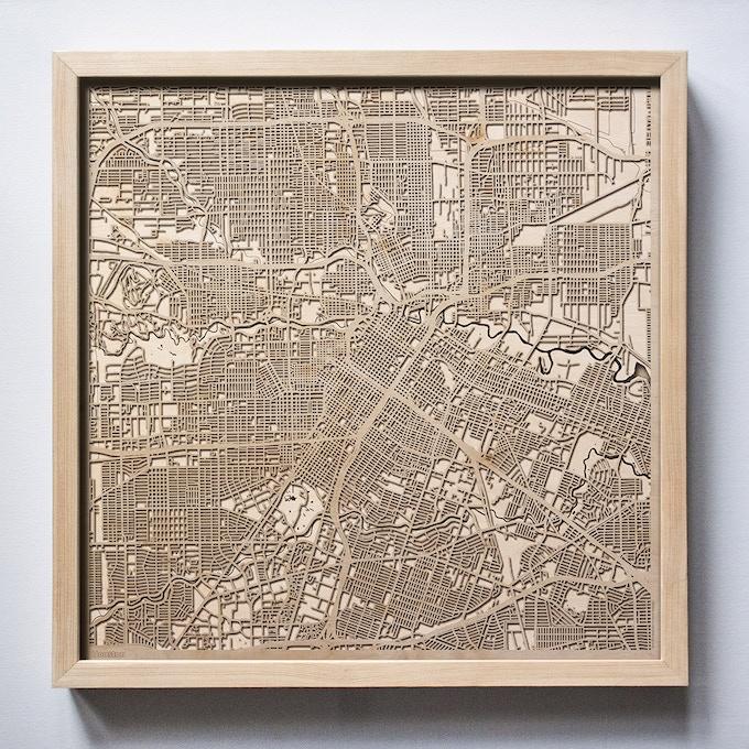 Houston CityWood Laser Cut Wooden Map