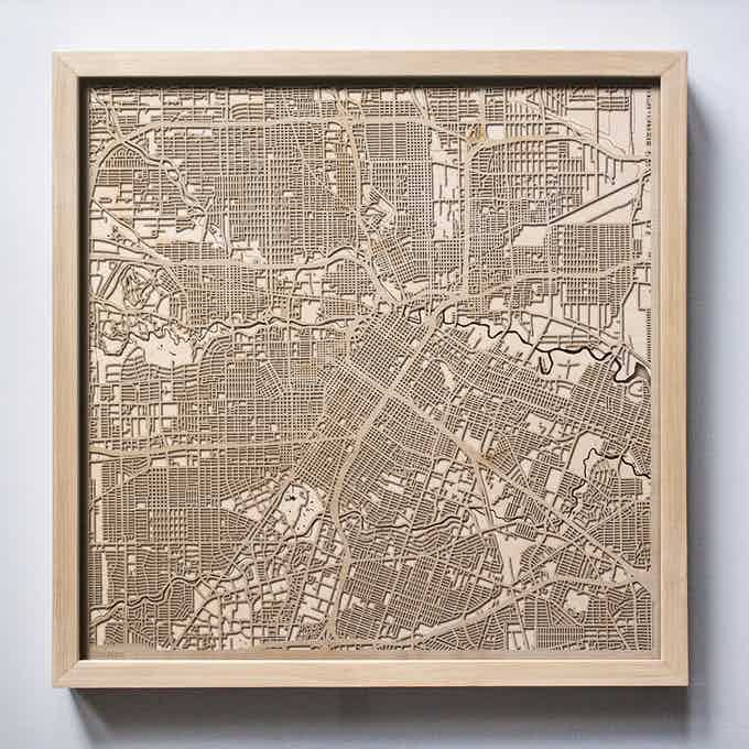 Houston CityWood Laser Cut Wooden Map
