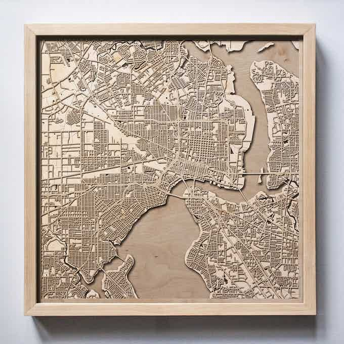 Jacksonville CityWood Laser Cut Wooden Map