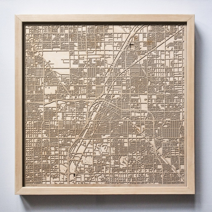 Las Vegas CityWood Laser Cut Wooden Map