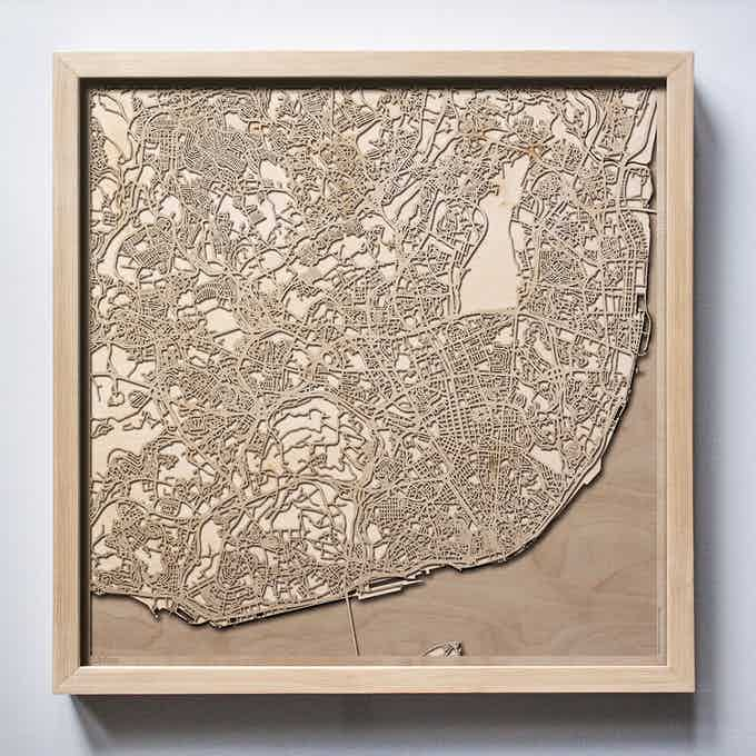 Lisbon CityWood Laser Cut Wooden Map
