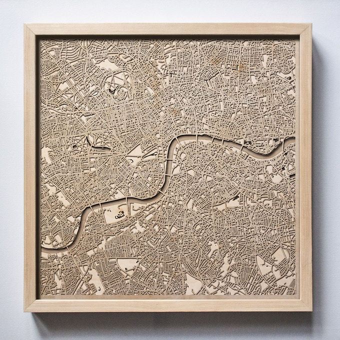 London CityWood Laser Cut Wooden Map