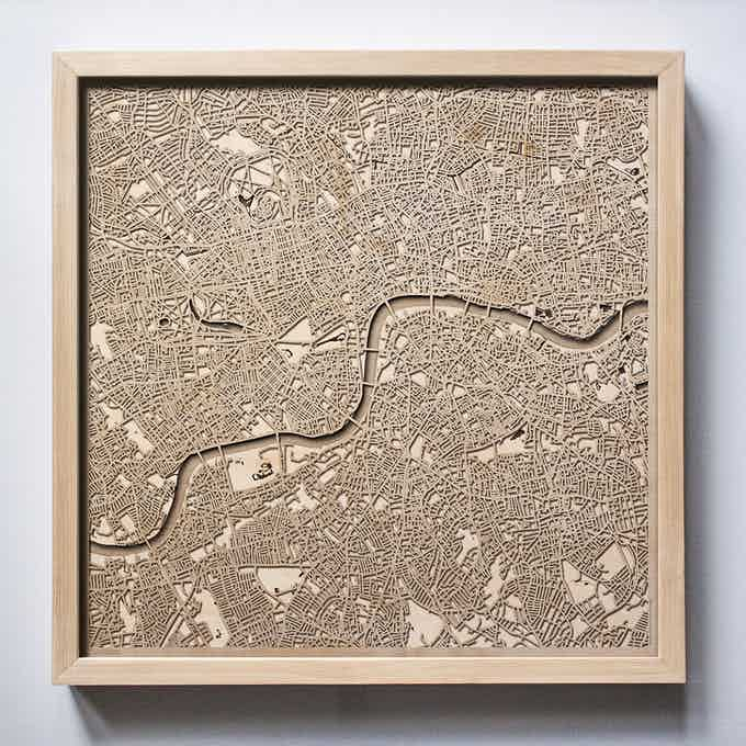 London CityWood Laser Cut Wooden Map