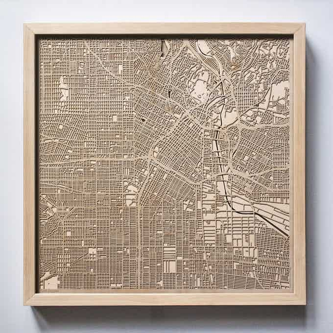 Los Angeles CityWood Laser Cut Wooden Map