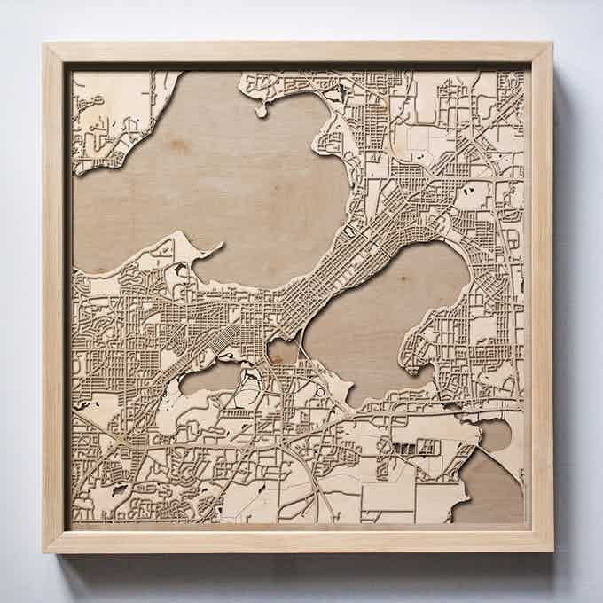 Madison CityWood Laser Cut Wooden Map
