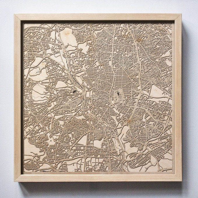 Madrid CityWood Laser Cut Wooden Map