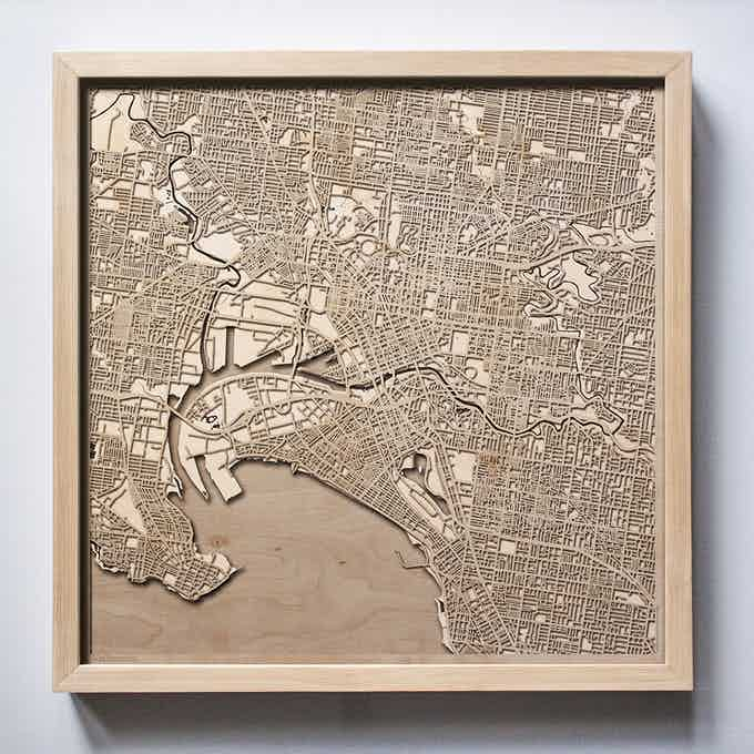 Melbourne CityWood Laser Cut Wooden Map