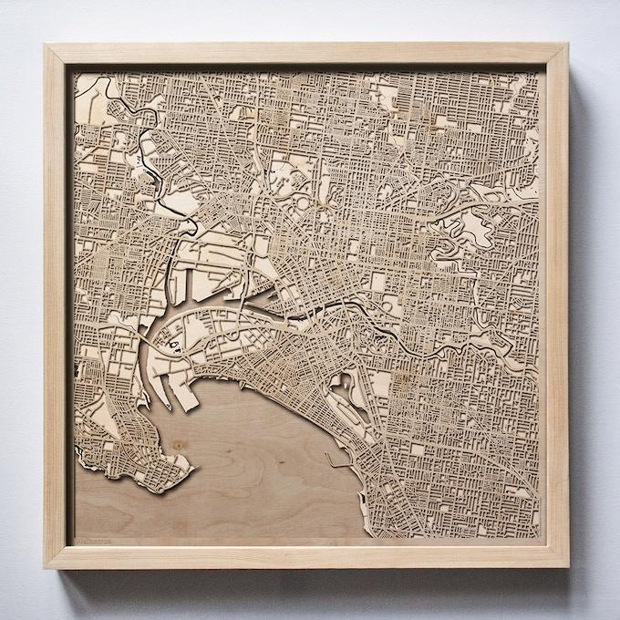 Melbourne CityWood Laser Cut Wooden Map