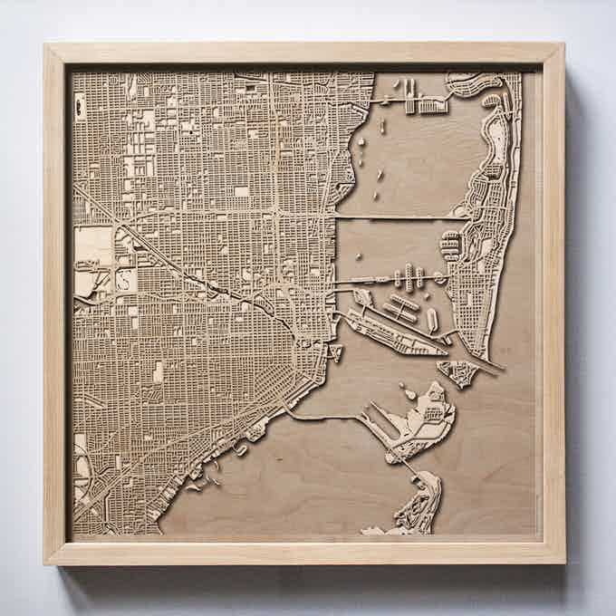 Miami CityWood Laser Cut Wooden Map