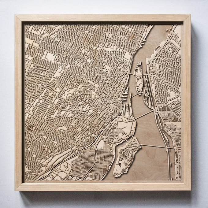 Montreal CityWood Laser Cut Wooden Map