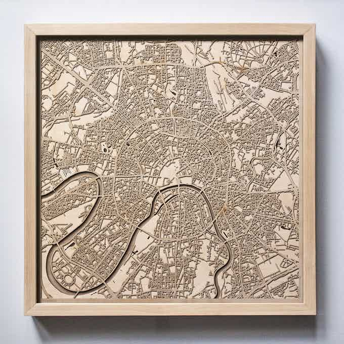 Moscow CityWood Laser Cut Wooden Map