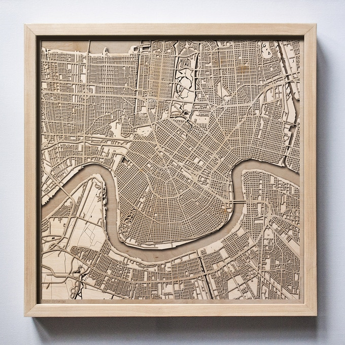 New Orleans CityWood Laser Cut Wooden Map