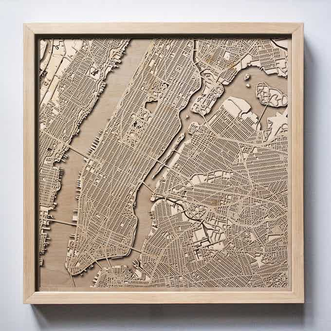 New York CityWood Laser Cut Wooden Map