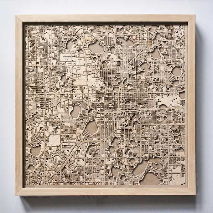 Orlando CityWood Laser Cut Wooden Map