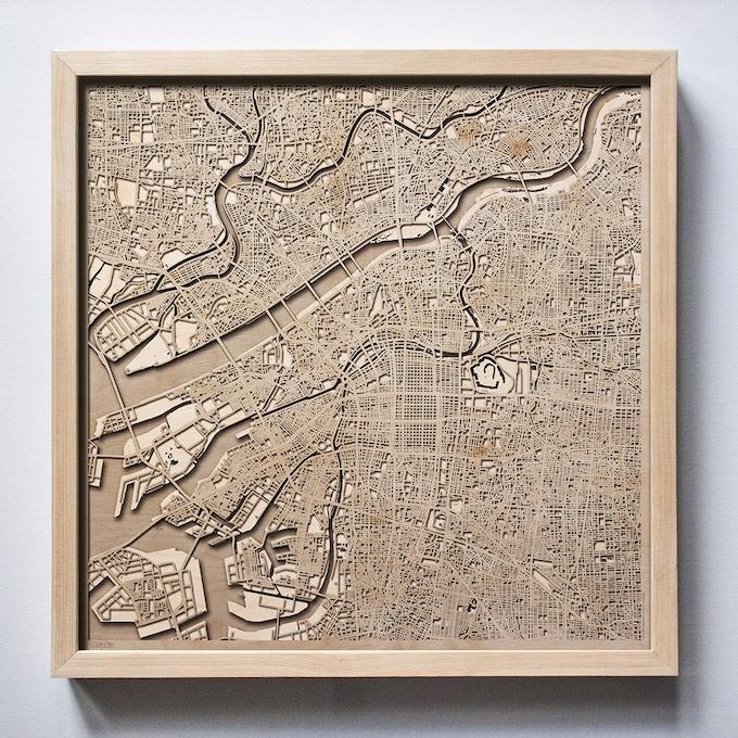 Osaka CityWood Laser Cut Wooden Map