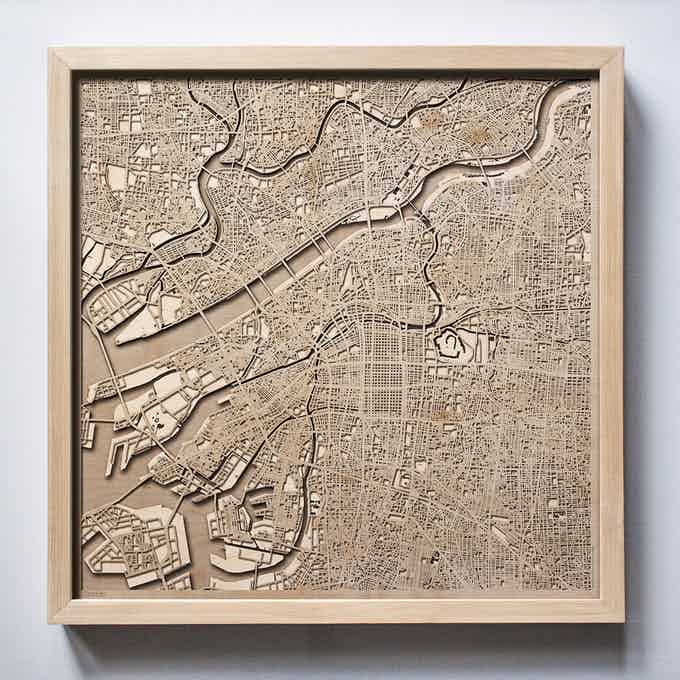 Osaka CityWood Laser Cut Wooden Map