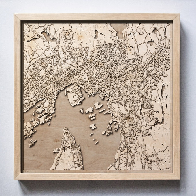 Oslo CityWood Laser Cut Wooden Map