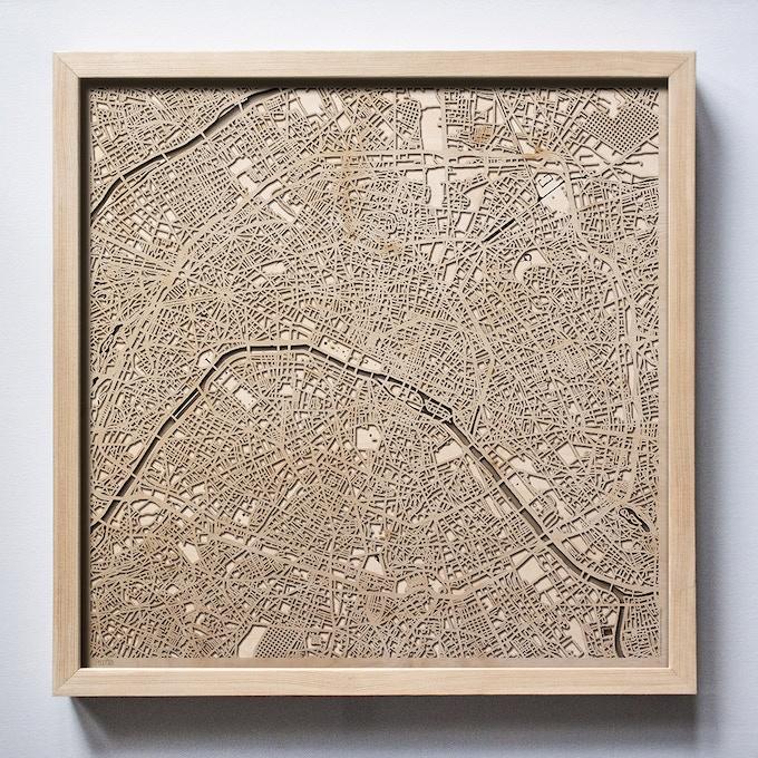 Paris CityWood Laser Cut Wooden Map