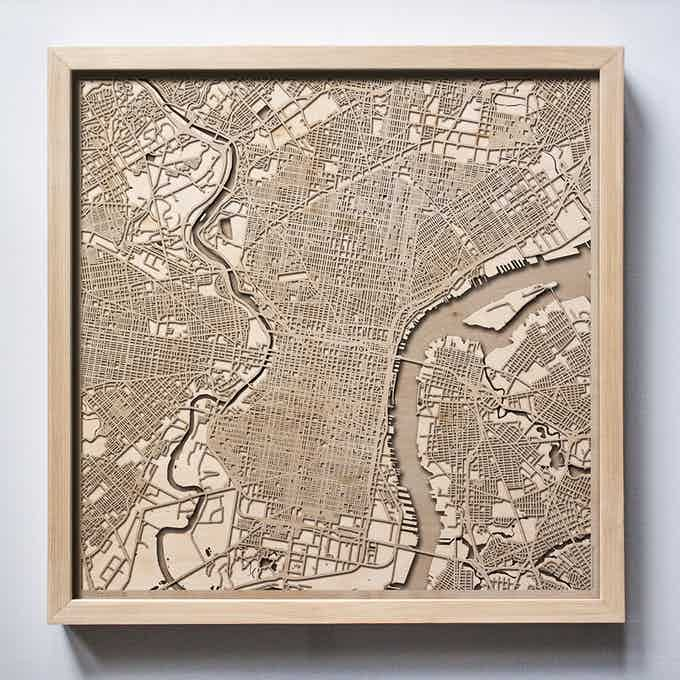 Philadelphia CityWood Laser Cut Wooden Map