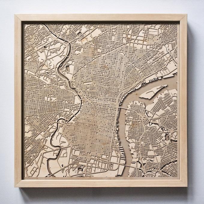 Philadelphia CityWood Laser Cut Wooden Map