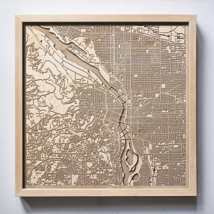 Portland CityWood Laser Cut Wooden Map