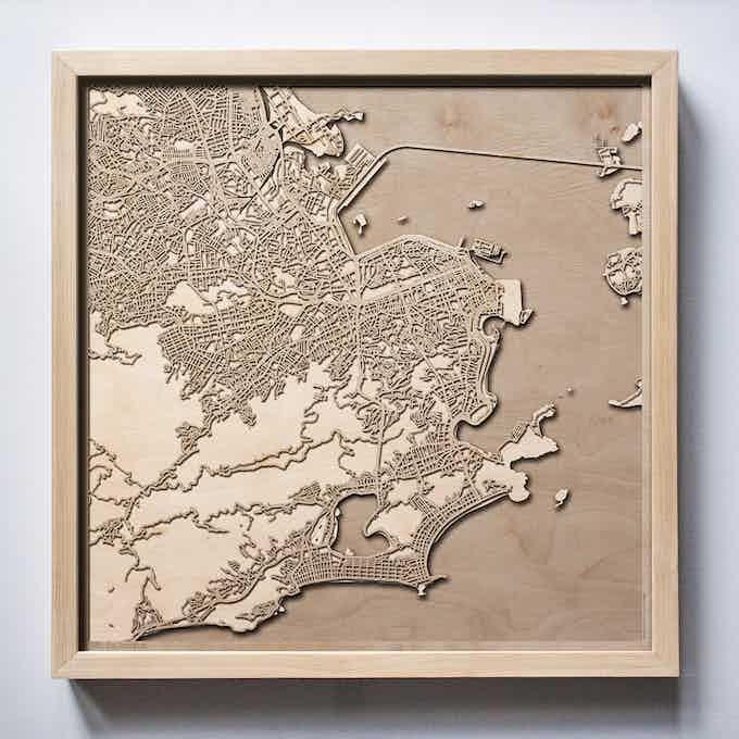 Rio de Janeiro CityWood Laser Cut Wooden Map