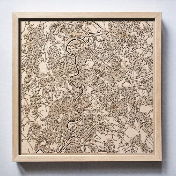 Rome CityWood Laser Cut Wooden Map
