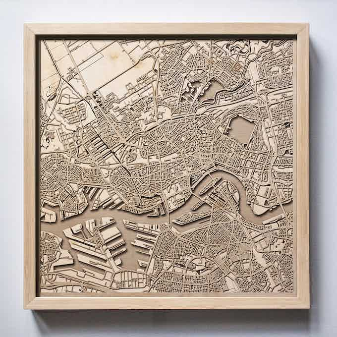 Rotterdam CityWood Laser Cut Wooden Map