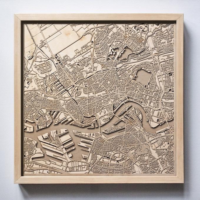 Rotterdam CityWood Laser Cut Wooden Map