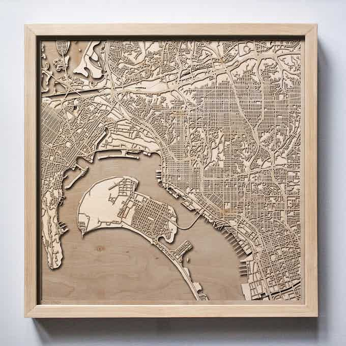 San Diego CityWood Laser Cut Wooden Map