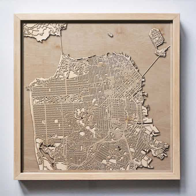 San Francisco CityWood Laser Cut Wooden Map