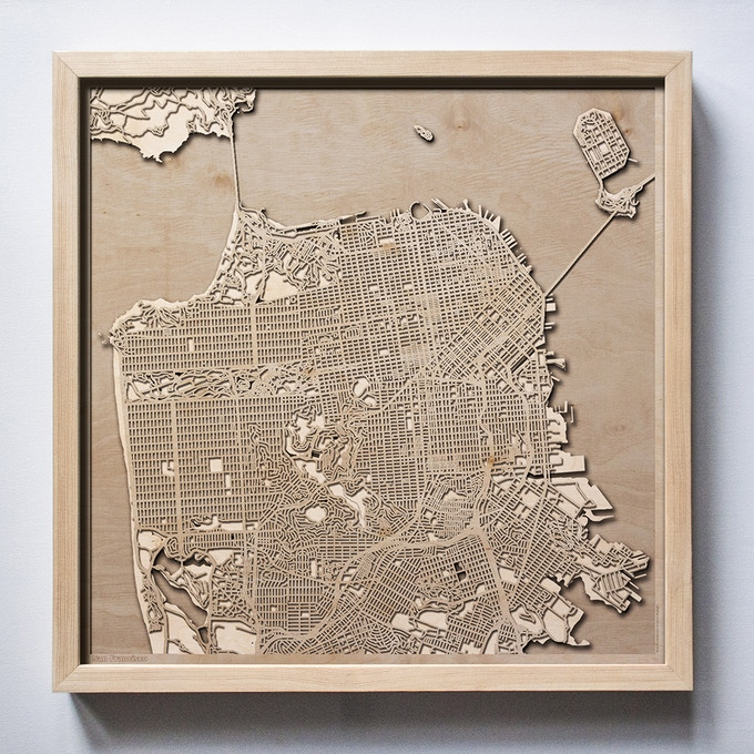 San Francisco CityWood Laser Cut Wooden Map