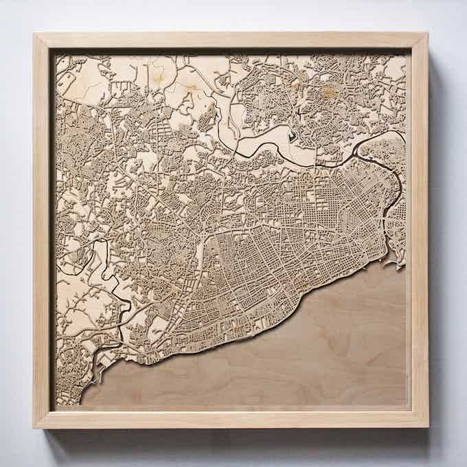 Santo Domingo CityWood Laser Cut Wooden Map