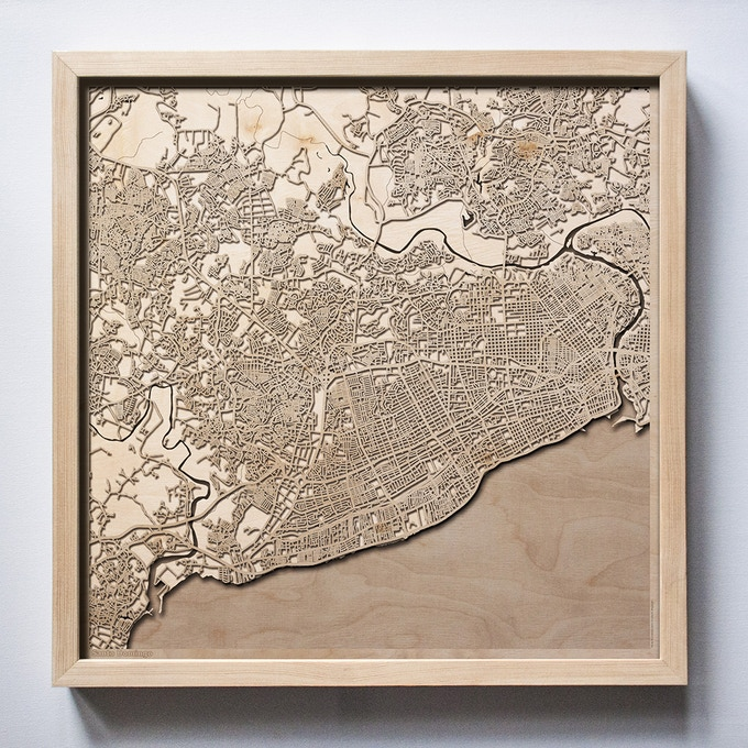 Santo Domingo CityWood Laser Cut Wooden Map