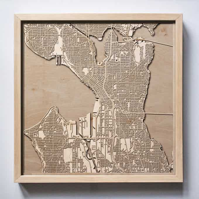 Seattle CityWood Laser Cut Wooden Map