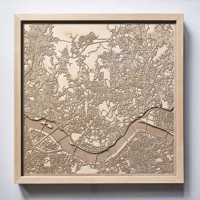 Seoul CityWood Laser Cut Wooden Map