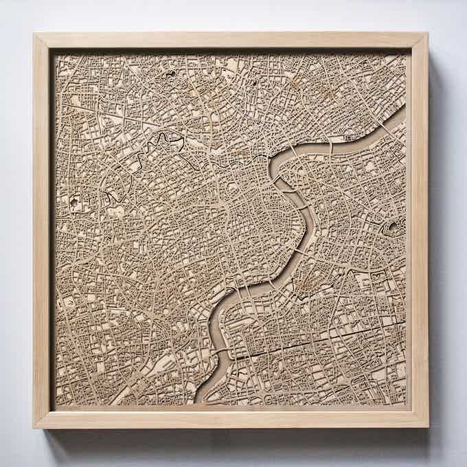 Shanghai CityWood Laser Cut Wooden Map