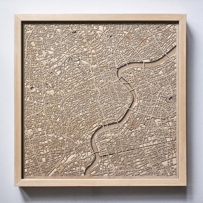 Shanghai CityWood Laser Cut Wooden Map