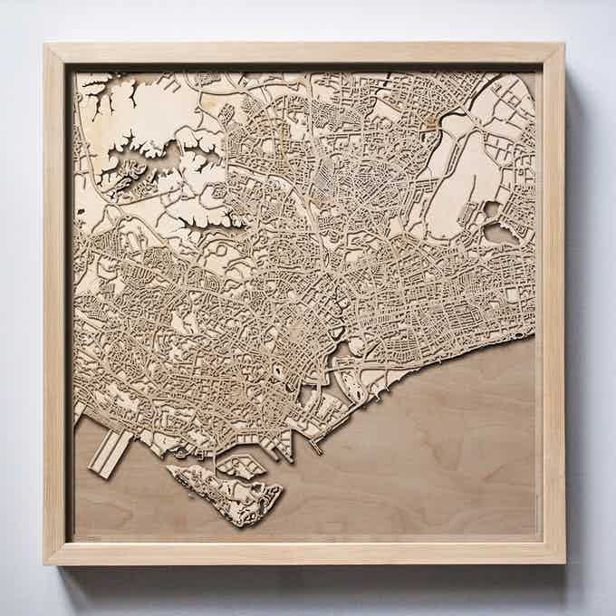 Singapore CityWood Laser Cut Wooden Map
