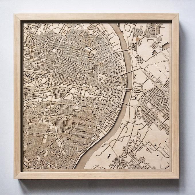 St Louis CityWood Laser Cut Wooden Map